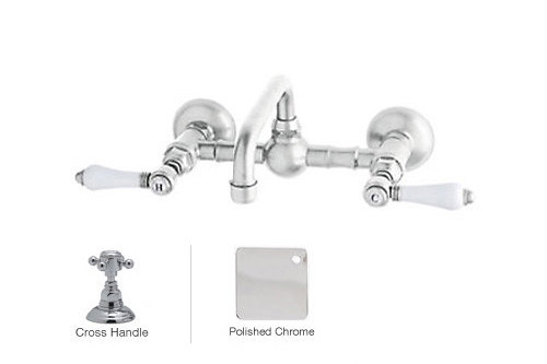 Rohl A1423XMAPC-2 Vocca Wall Mounted Bridge Bathroom Faucet With Metal Handle