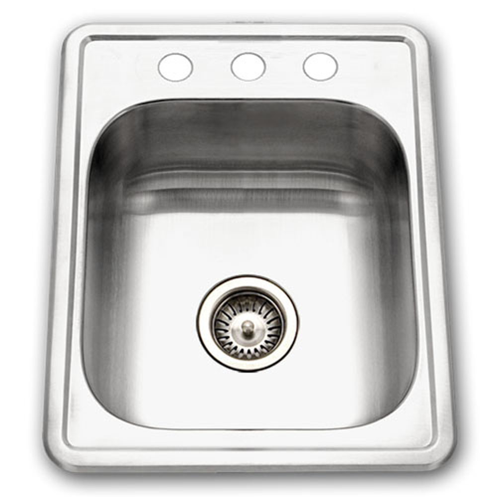 Houzer A1722-7BS-1 ADA Glowtone Series Topmount Stainless Steel 3-hole Bar/Prep Sink