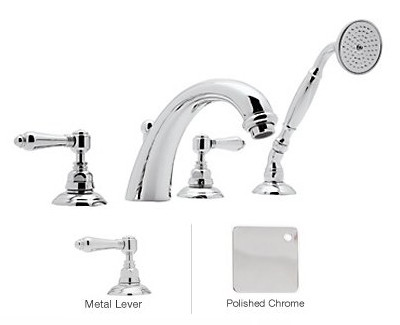 Rohl A2104LMAPC Bath Mixer With C-Spout And Handshower In Polished Chrome