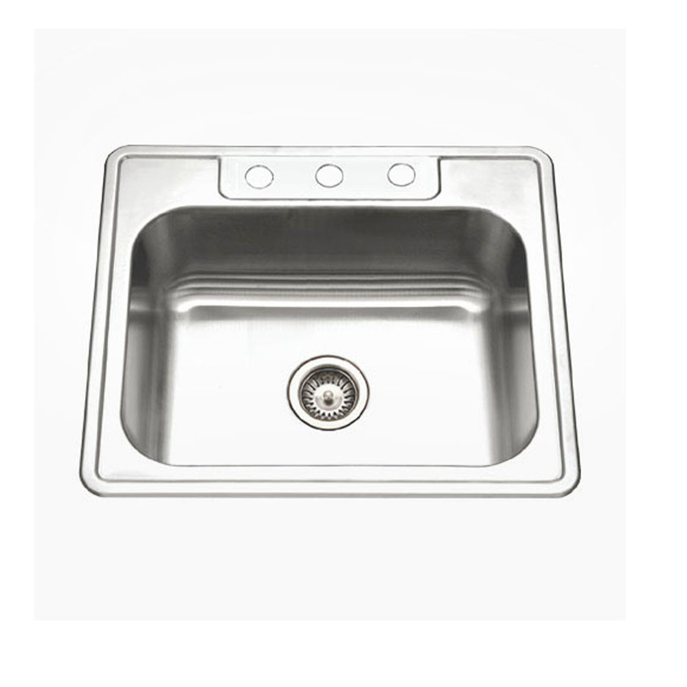 Houzer A2522-65BS3-1 ADA Glowtone Series Topmount Stainless Steel 3-hole Single Bowl Kitchen Sink