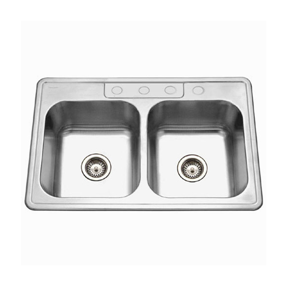 Houzer A3322-65BS4-1 ADA Glowtone Series Topmount Stainless Steel 4-hole Double Bowl Kitchen Sink