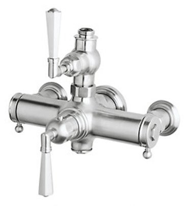 Rohl A4817LMAPC Palladian Lever-Handle Wall Mount Exposed Thermostatic Mixer in Polished Chrome