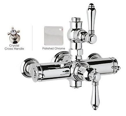 Rohl A4917XCAPC Country Bath Crystal Cross Handles Exposed Thermostatic Shower in Polished Chrome