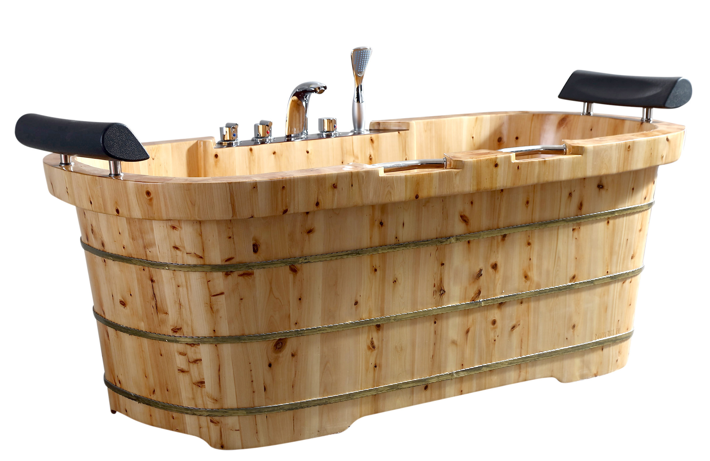 "ALFI brand AB1130 65"" 2 Person Free Standing Cedar Wood Bathtub with Fixtures & Headrests"