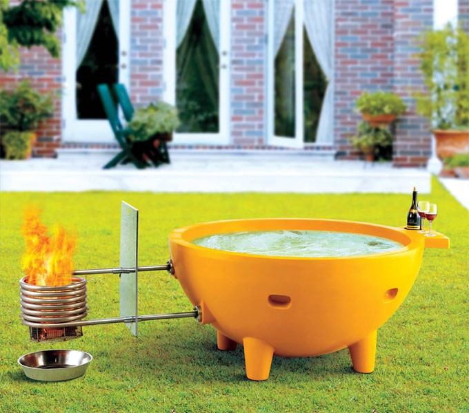 ALFI brand FireHotTub The Round Fire Burning Portable Outdoor Hot Bath Tub