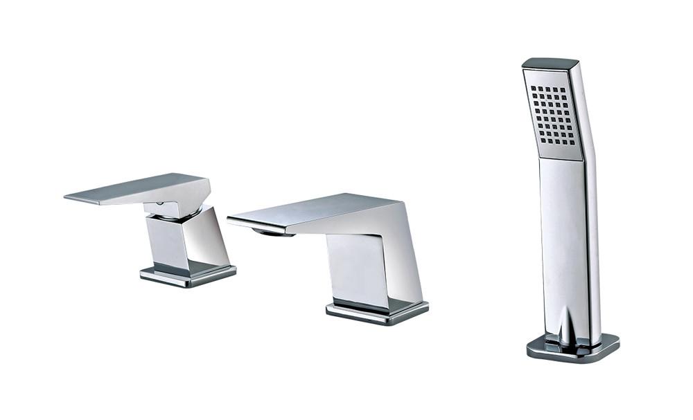 ALFI brand AB2464-PC Deck Mounted Three Hole Brass Bathroom Tub Filler