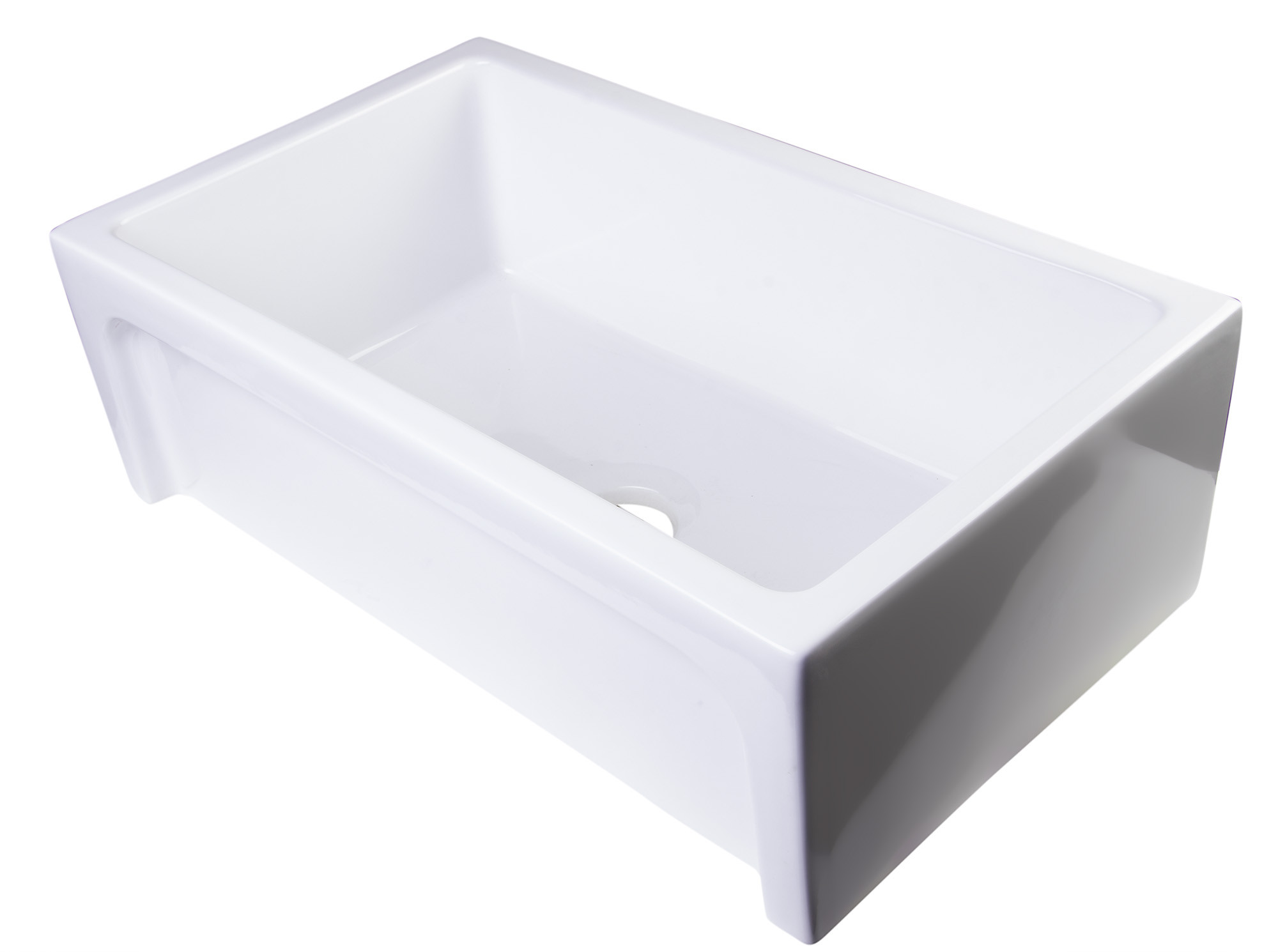 ALFI brand AB3018ARCH-W White Arched Apron Thick Wall Fireclay Farm Sink