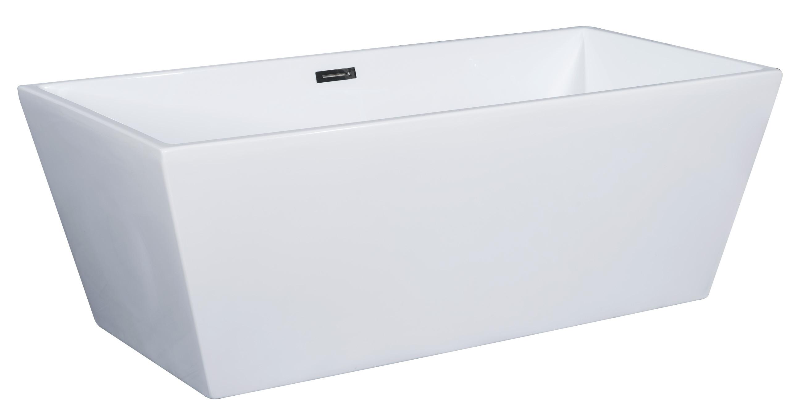 ALFI brand AB8832 67 Inch White Rectangular Acrylic Free Standing Soaking Bathtub
