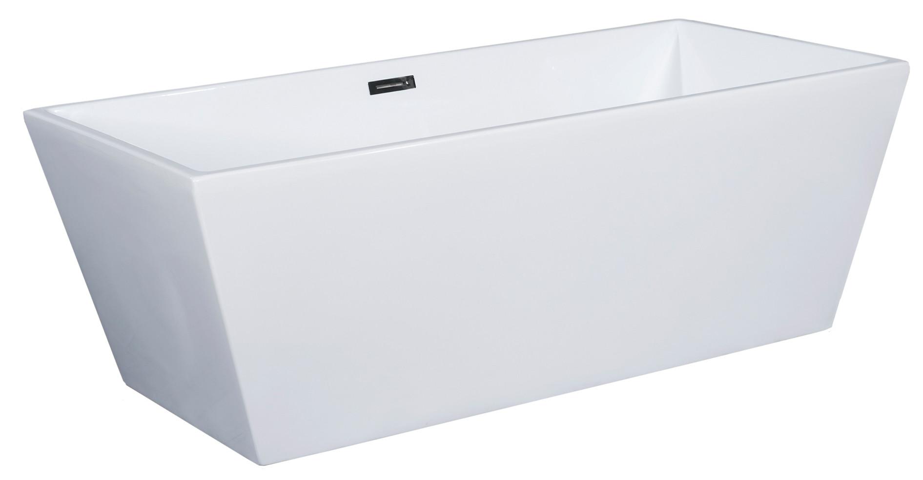 ALFI brand AB833 59 Inch White Rectangular Free Standing Soaking Bathtub