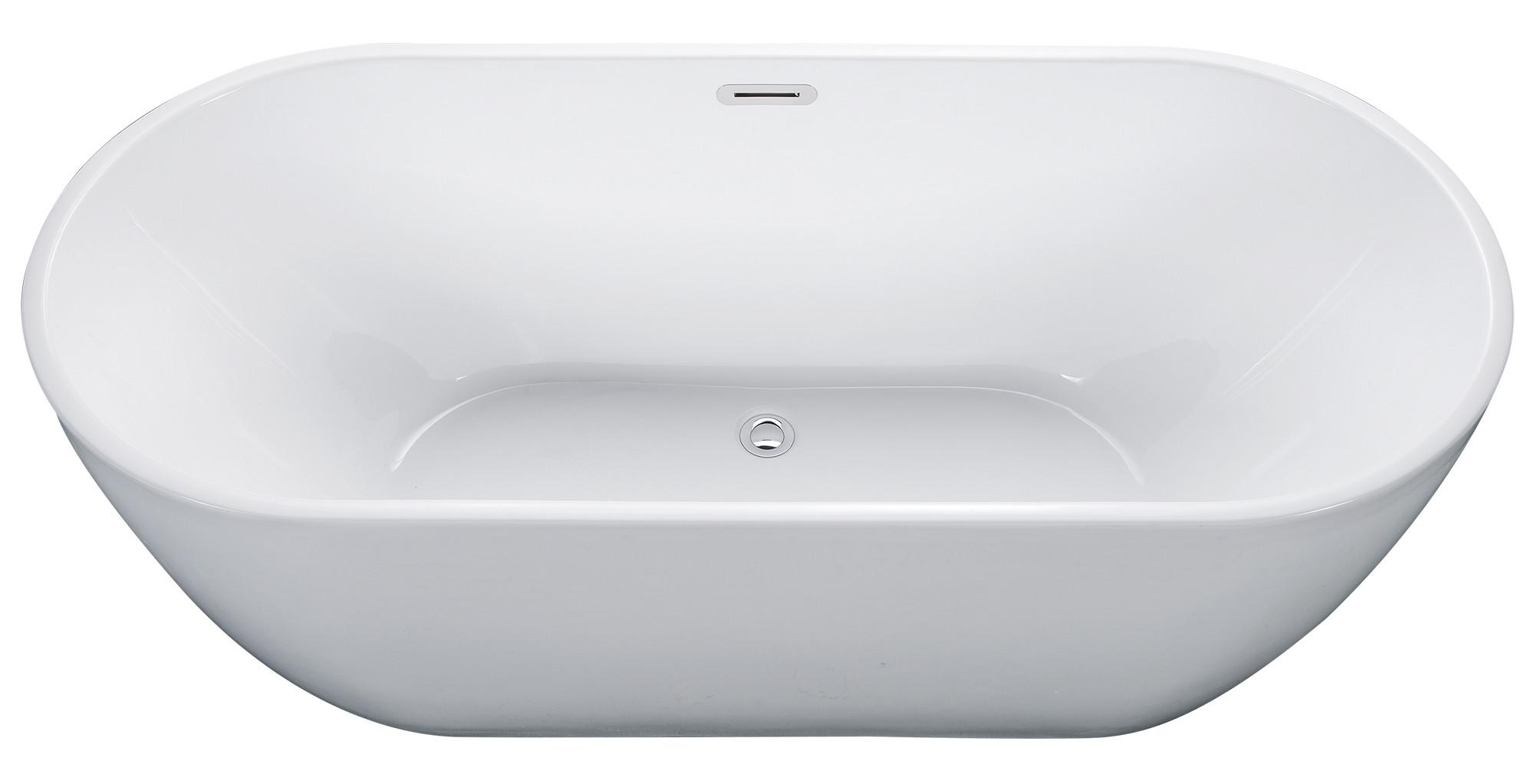 ALFI brand AB8839 67 Inch White Oval Acrylic Free Standing Soaking Bathtub