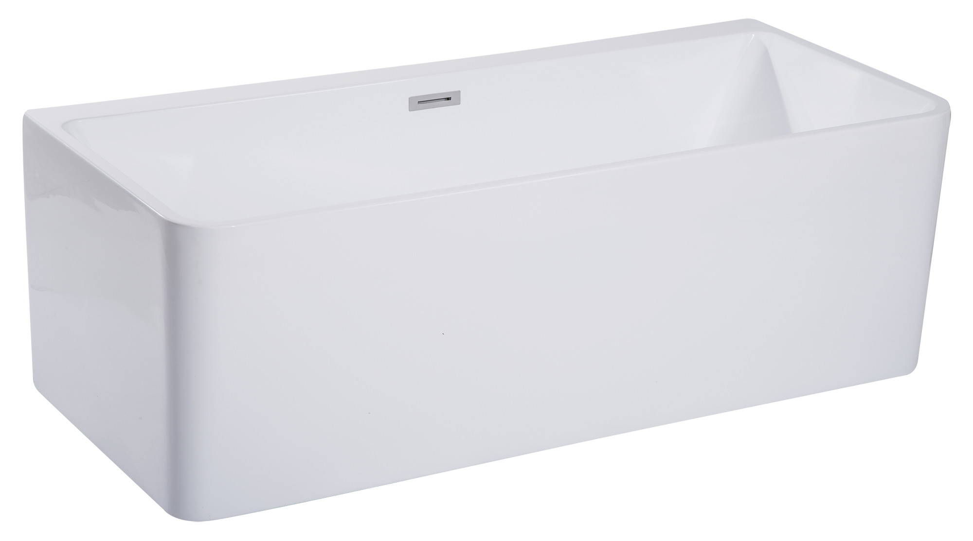 ALFI brand AB8859 67 Inch White Rectangular Acrylic Free Standing Soaking Bathtub