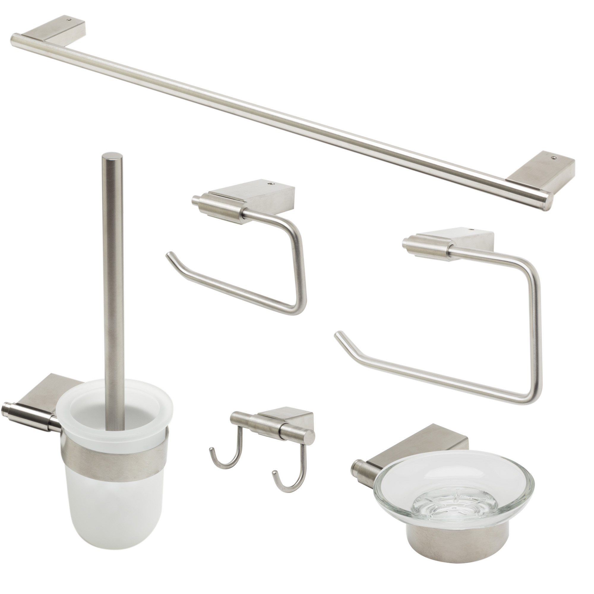 ALFI brand AB9515-BN Brushed Nickel 6 Piece Matching Bathroom Accessory Set