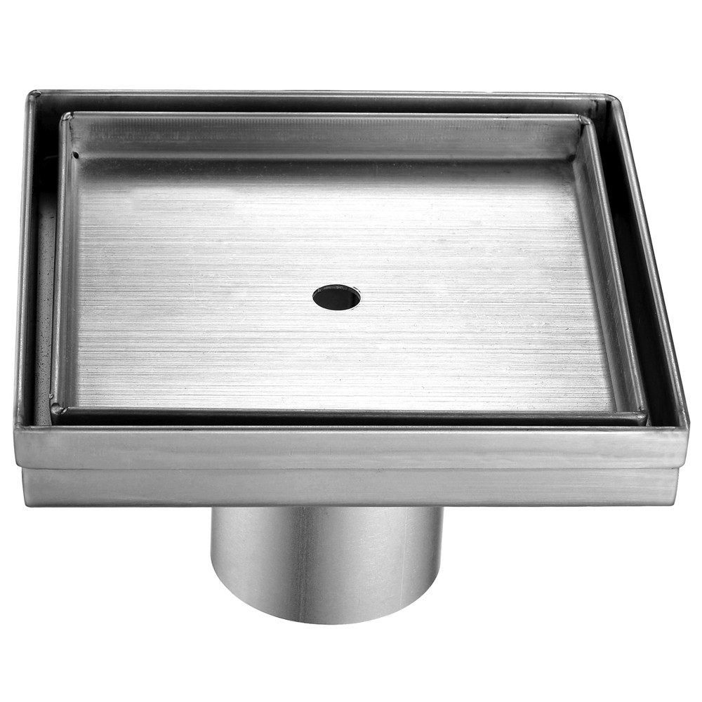 """ALFI brand ABSD55A 5"""" x 5"""" Modern Square Stainless Steel Shower Drain w/o Cover"""