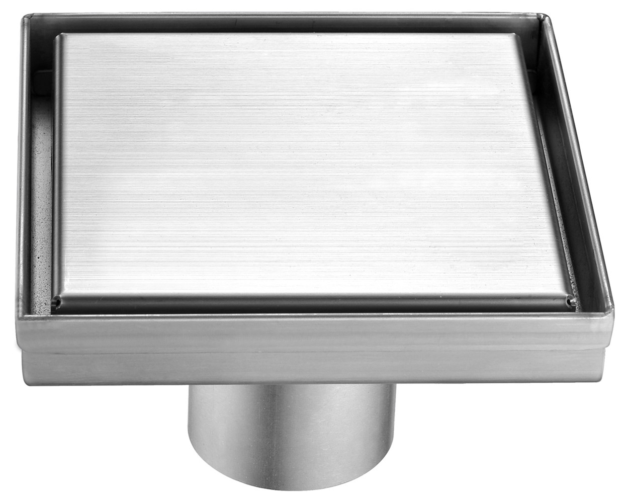 "ALFI brand ABSD55B-BSS 5""x5"" Square Stainless Shower Drain w/ Solid Cover"