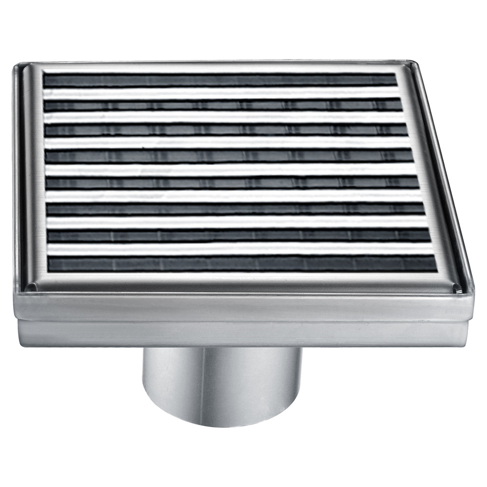 """ALFI brand ABSD55D 5"""" x 5"""" Square Stainless Steel Shower Drain with Groove Lines"""