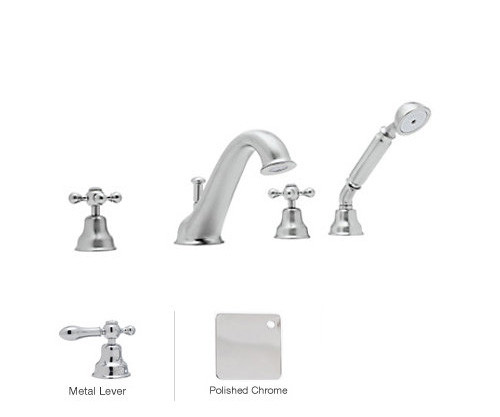 Rohl AC26L-APC 4-Hole Bathtub Filler With Lever Handles In Polished Chrome