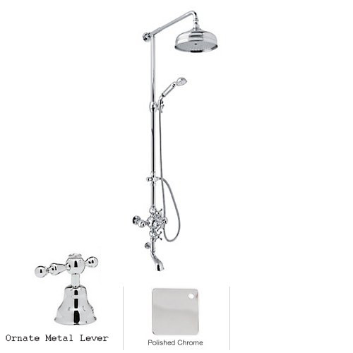 Rohl AC414L-APC Shower System with Cisal Arcana Ornate Metal Lever Handles in Polished Chrome