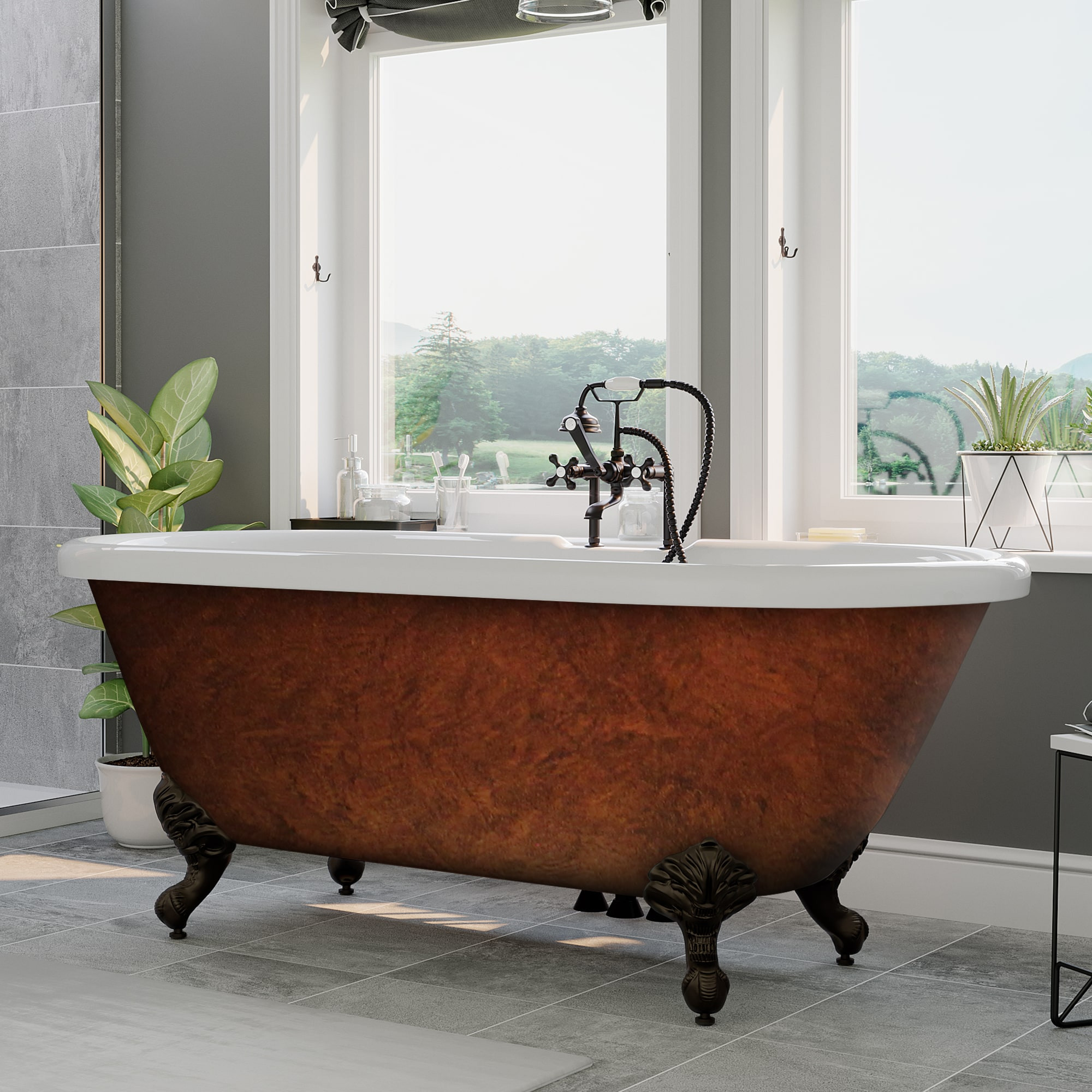 """Cambridge ADE60-DH-ORB-CB Acrylic Clawfoot Bathtub with 7"""" Faucet Drillings"""