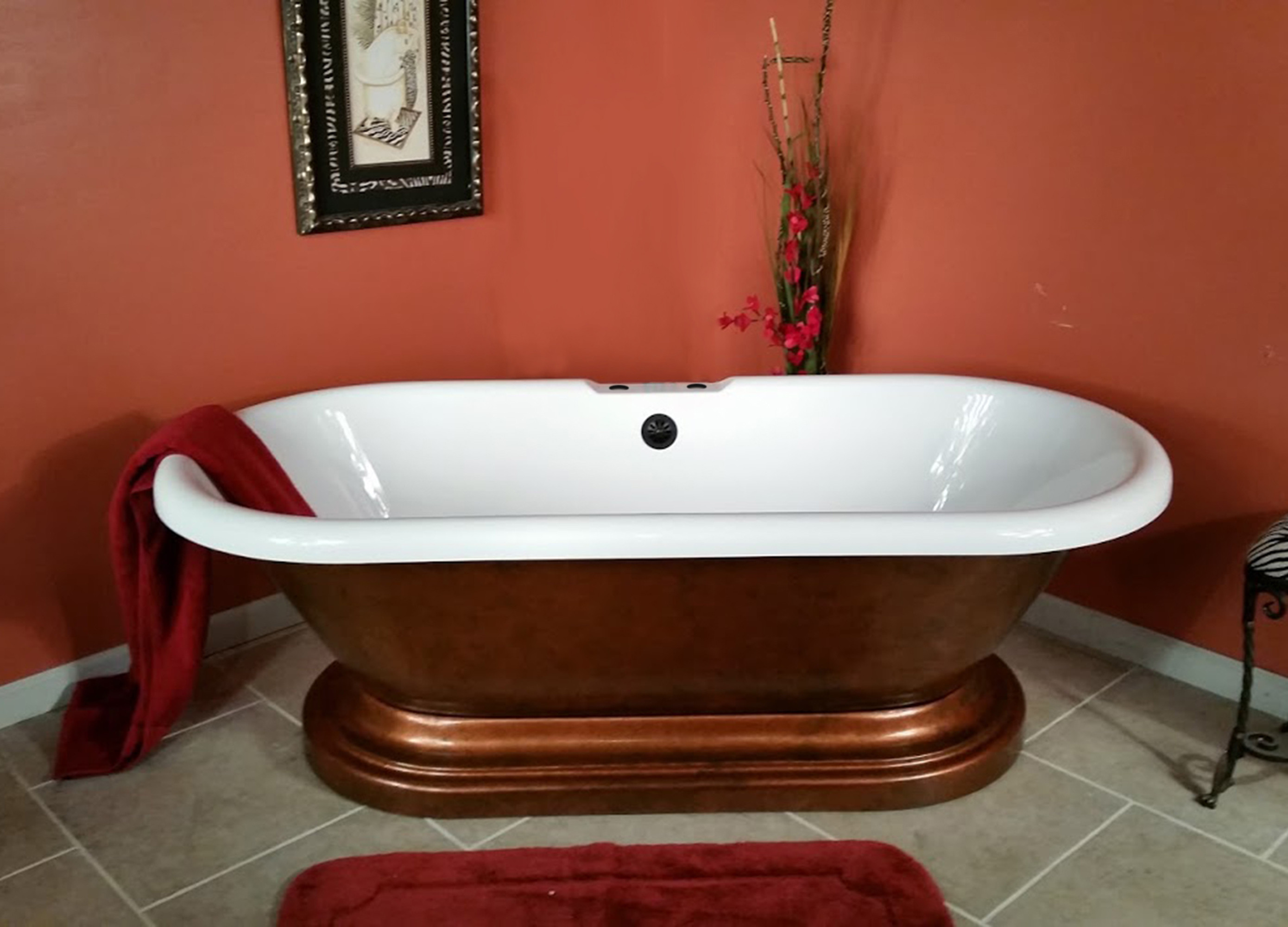 Cambridge ADE60-PED-CB Acrylic Double Ended Tub On Pedestal With Deck Holes