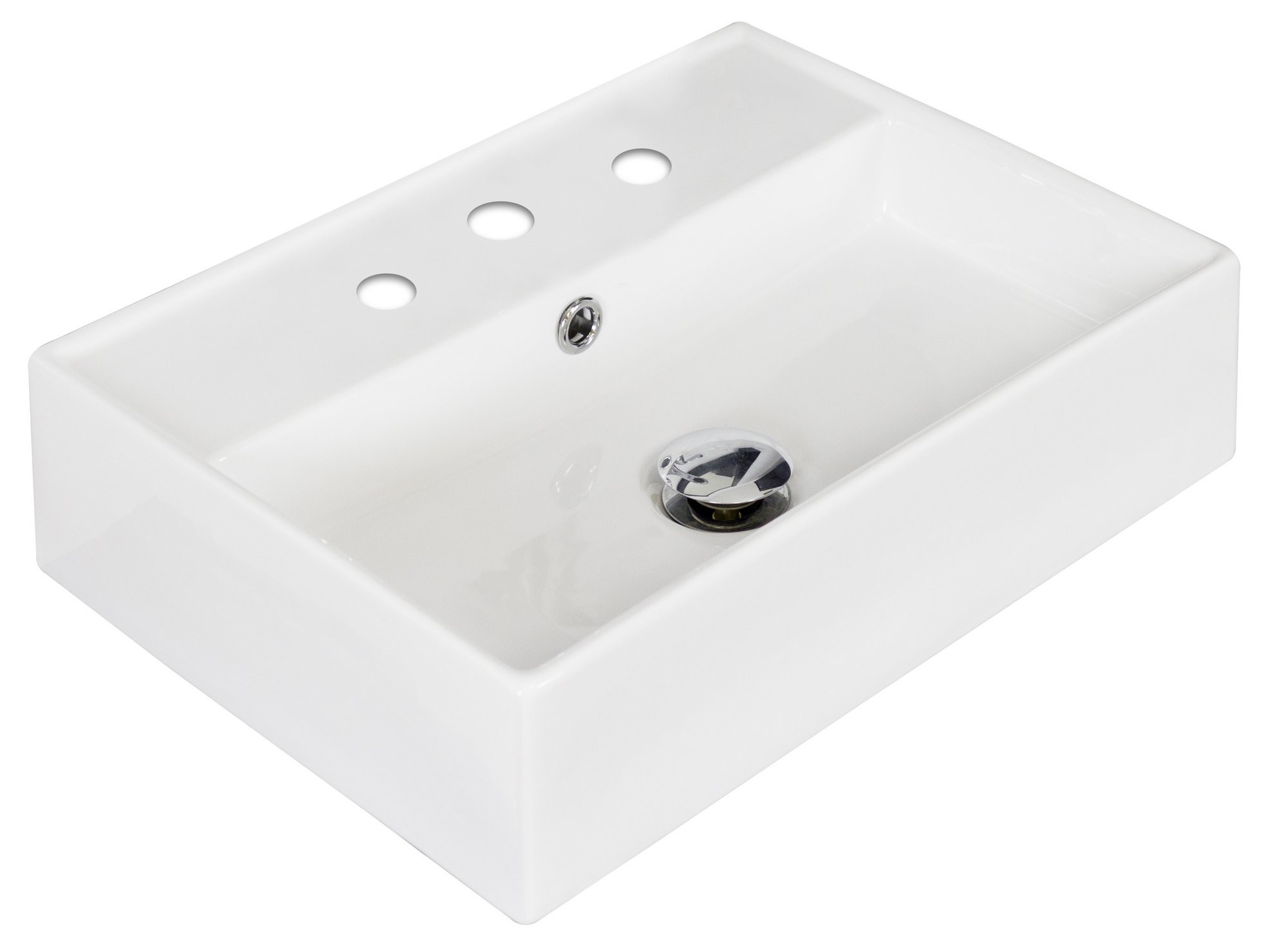 American Imagination AI-1330 Above Counter Rectangle Vessel In White Color For 8-in. o.c. Faucet