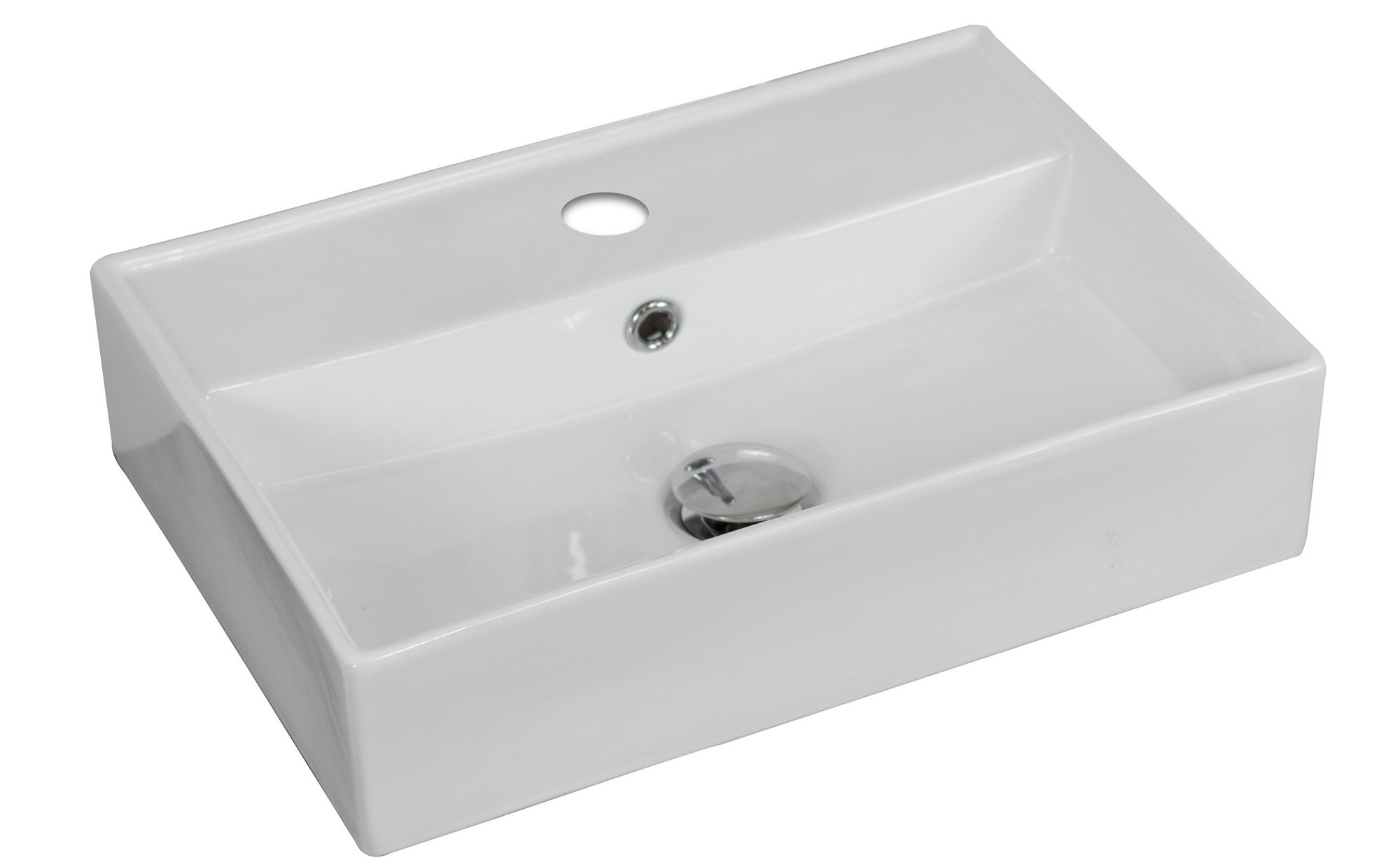 American Imagination AI-1331 Wall Mount Rectangle Vessel In White Color For Single Hole Faucet