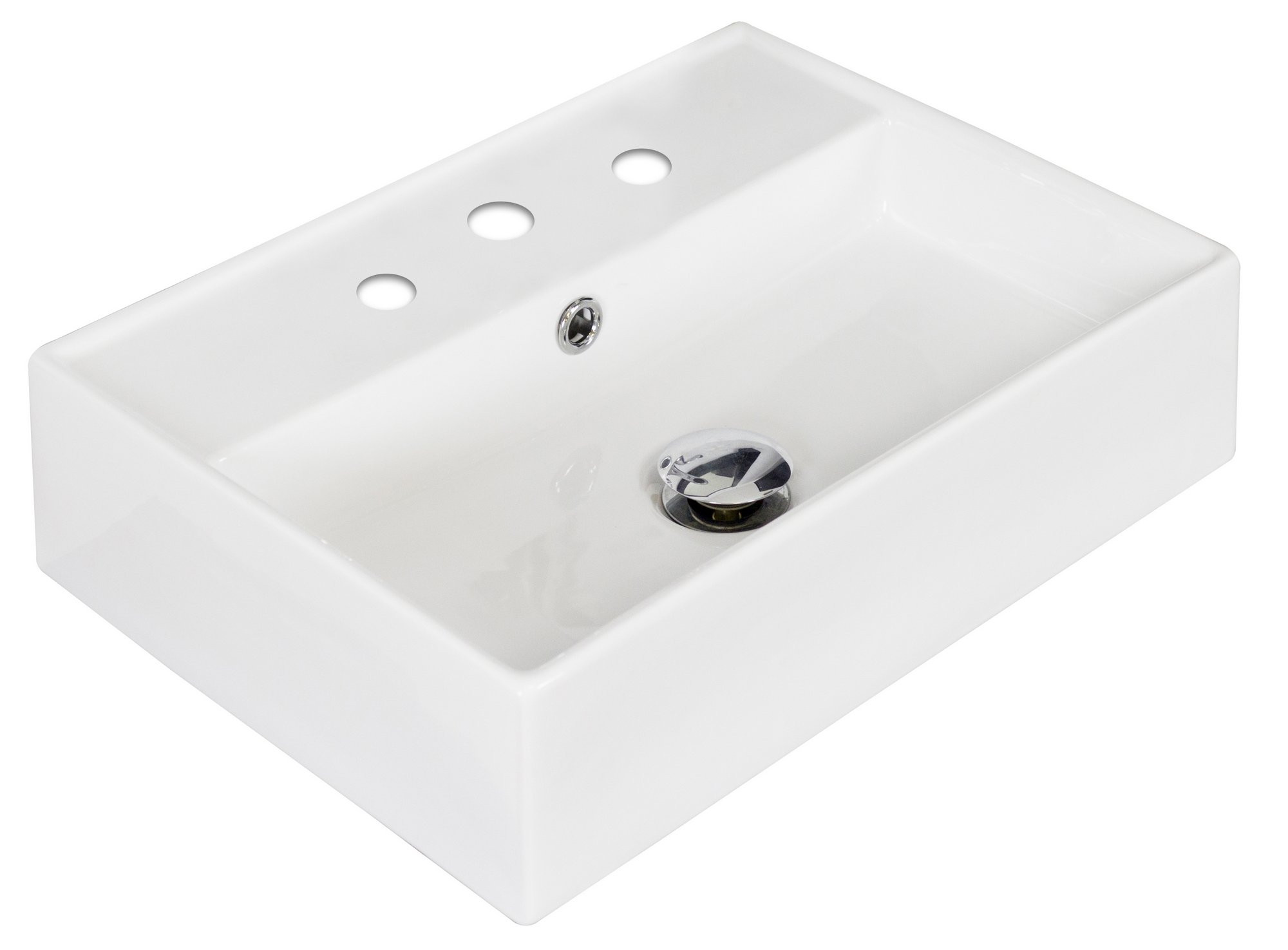 American Imagination AI-1333 Wall Mount Rectangle Vessel In White Color For 8-in. o.c. Faucet