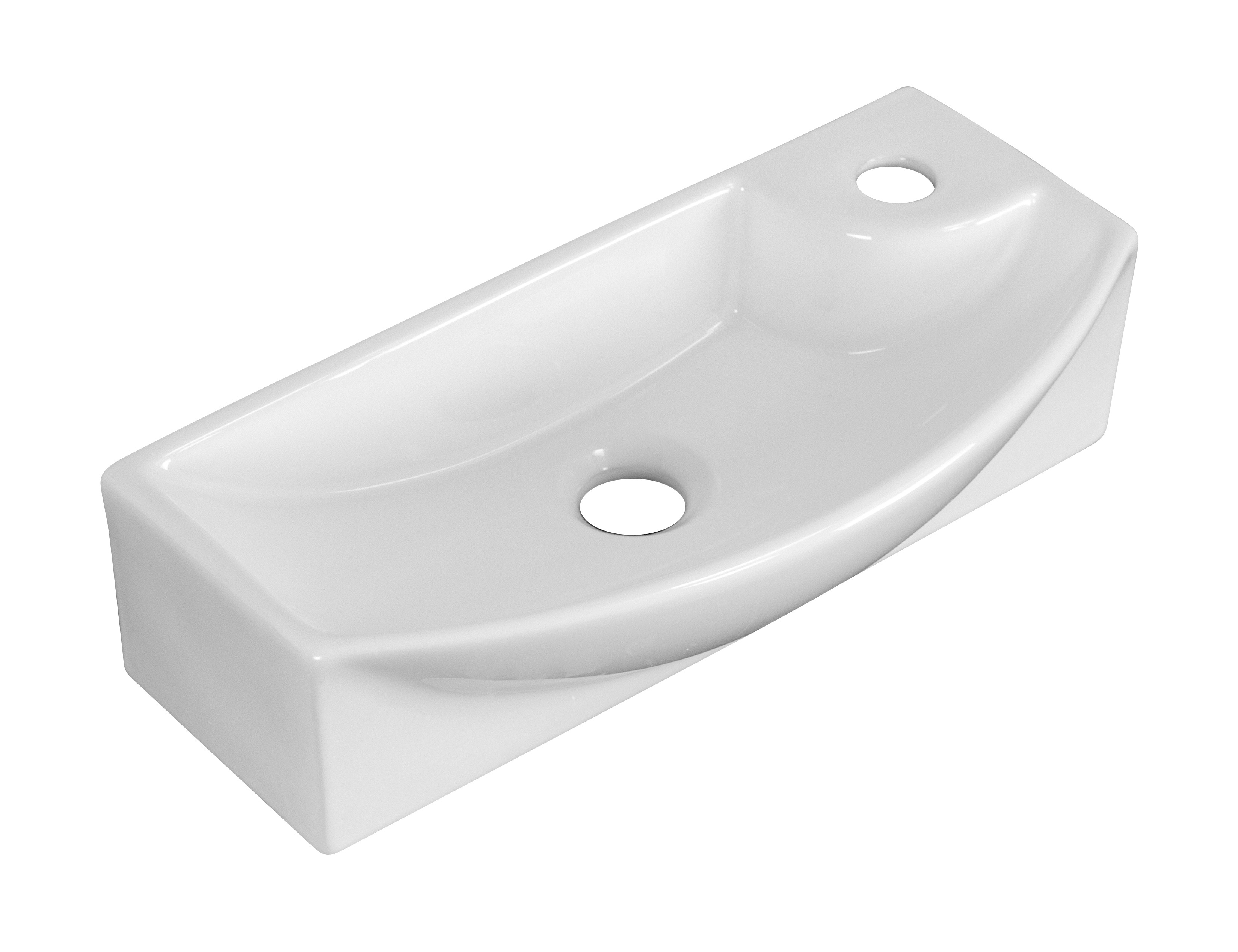 American Imagination AI-1757 Wall Mount Rectangle Vessel In White For Single Hole Faucet