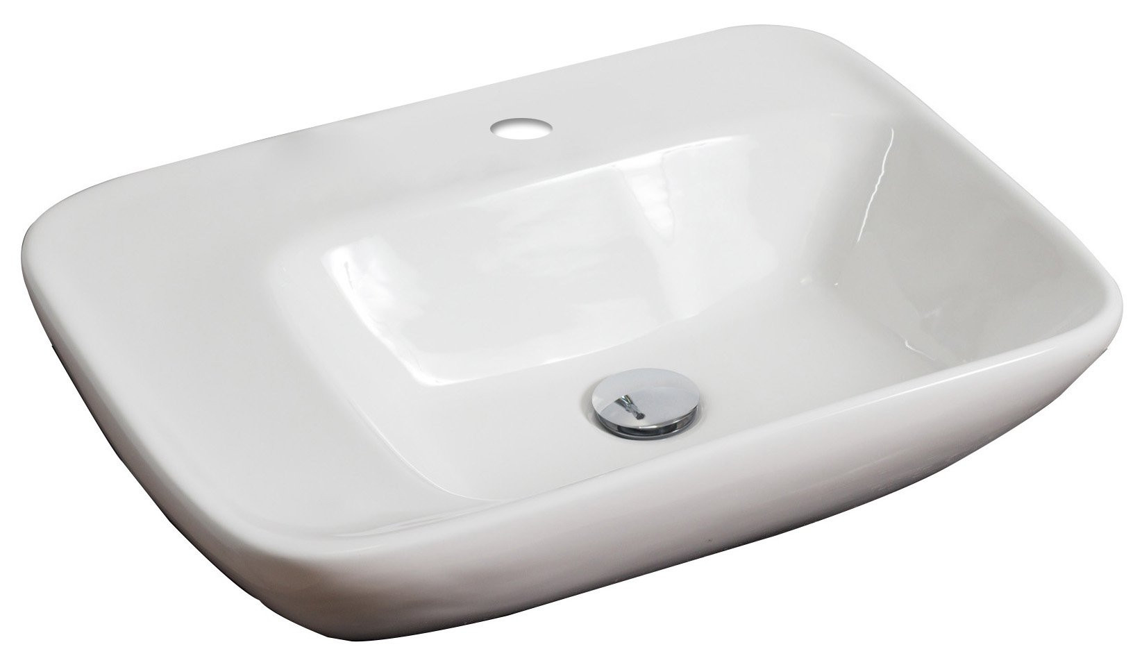 American Imagination AI-688 Wall Mount Rectangle Vessel In White Color For Single Hole Faucet
