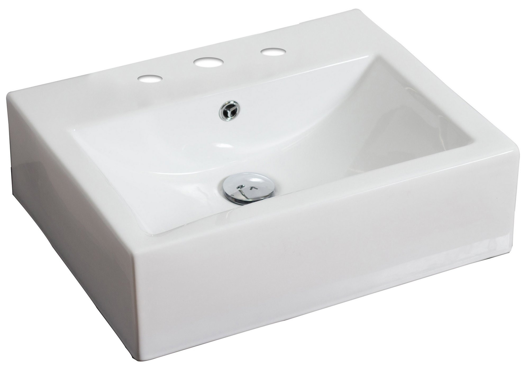 American Imagination AI-692 Wall Mount Rectangle Vessel In White Color For 8-in. o.c. Faucet