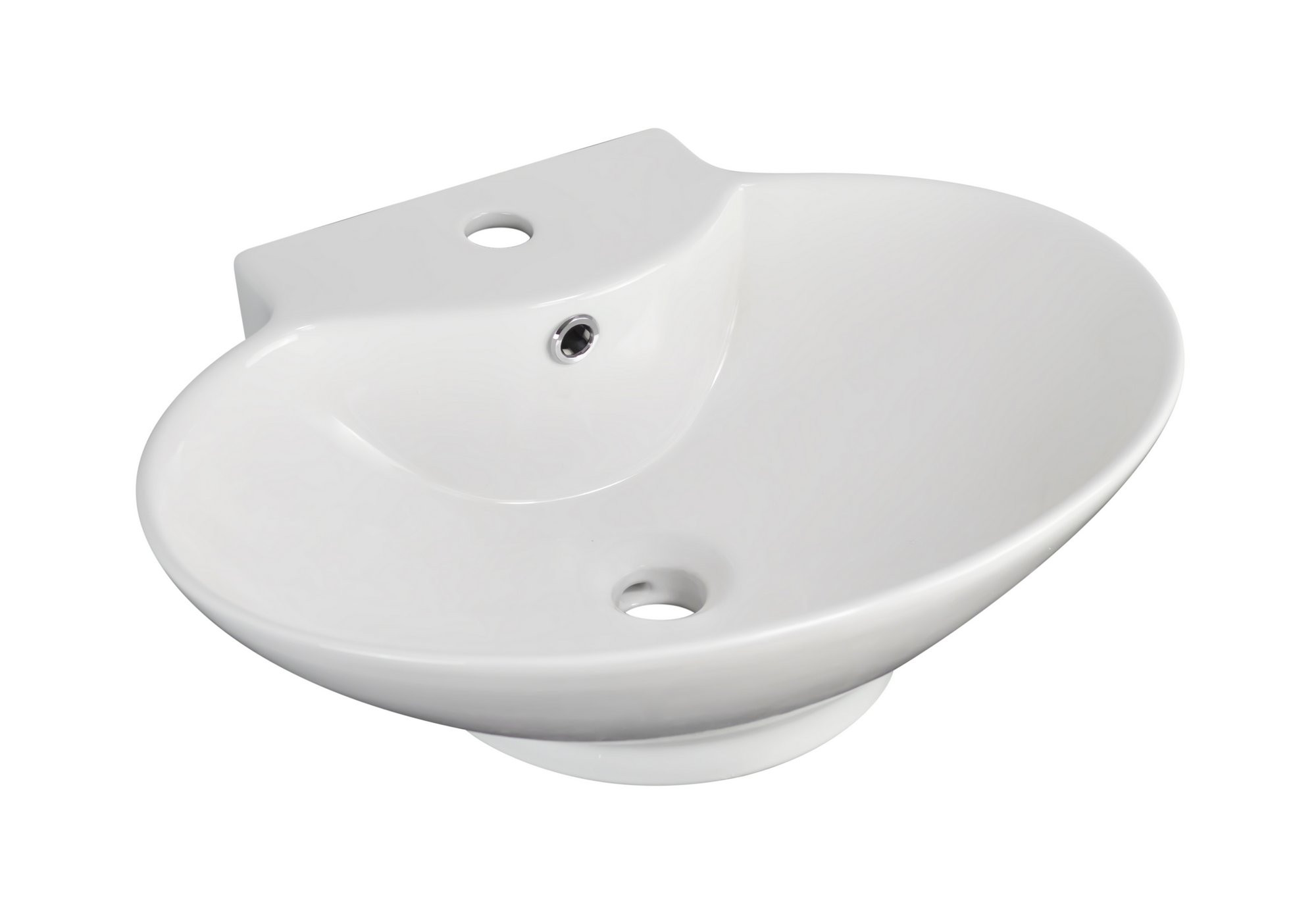 American Imagination AI-703 Wall Mount Oval Vessel In White Color For Single Hole Faucet