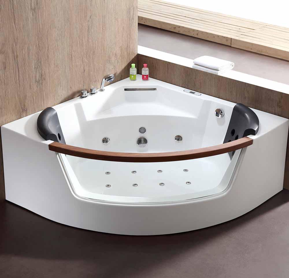 EAGO AM197ETL 5 ft Clear Rounded Corner Acrylic Whirlpool Bathtub for Two