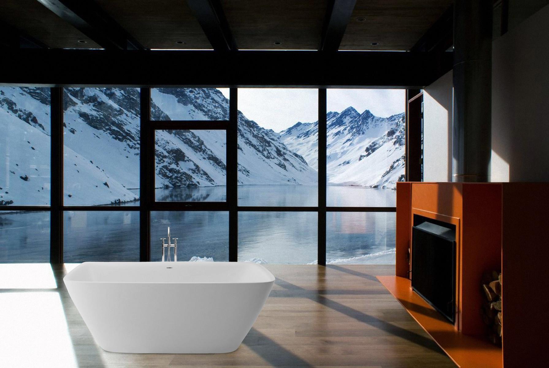 Aquatica Arab-Wht Rectangular Freestanding AquaStone™ Bathtub in White