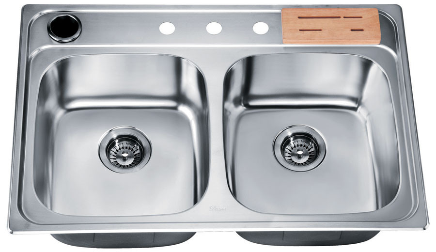 Dawn AST3322 Drop In Double Bowl Stainless Kitchen Sink