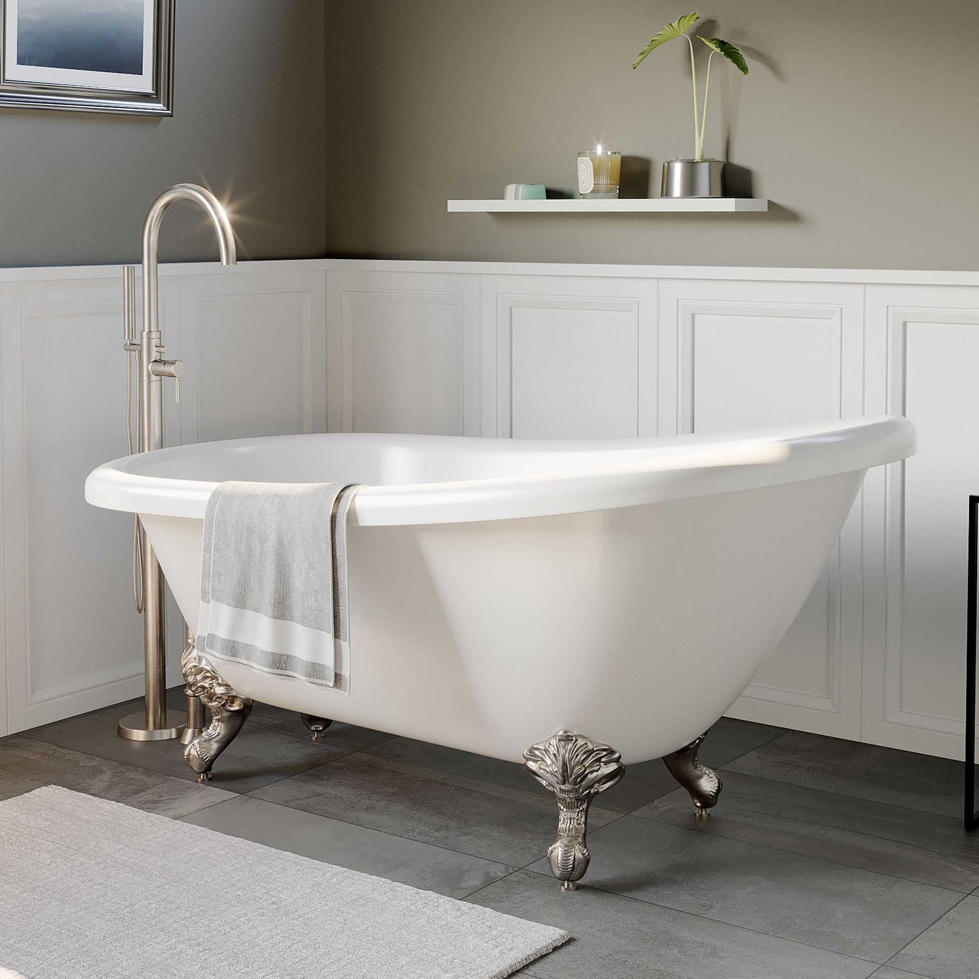 Cambridge AST-61-N-BN Tub With Faucet Holes & Brushed Nickel Ball&Claw Feet