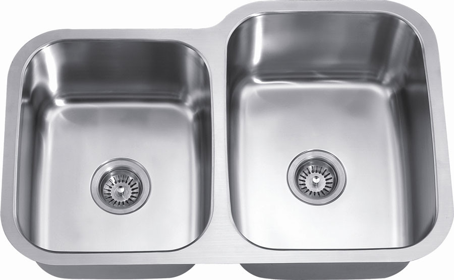Dawn ASU108L Undermount Satin Double Bowl Kitchen Sink