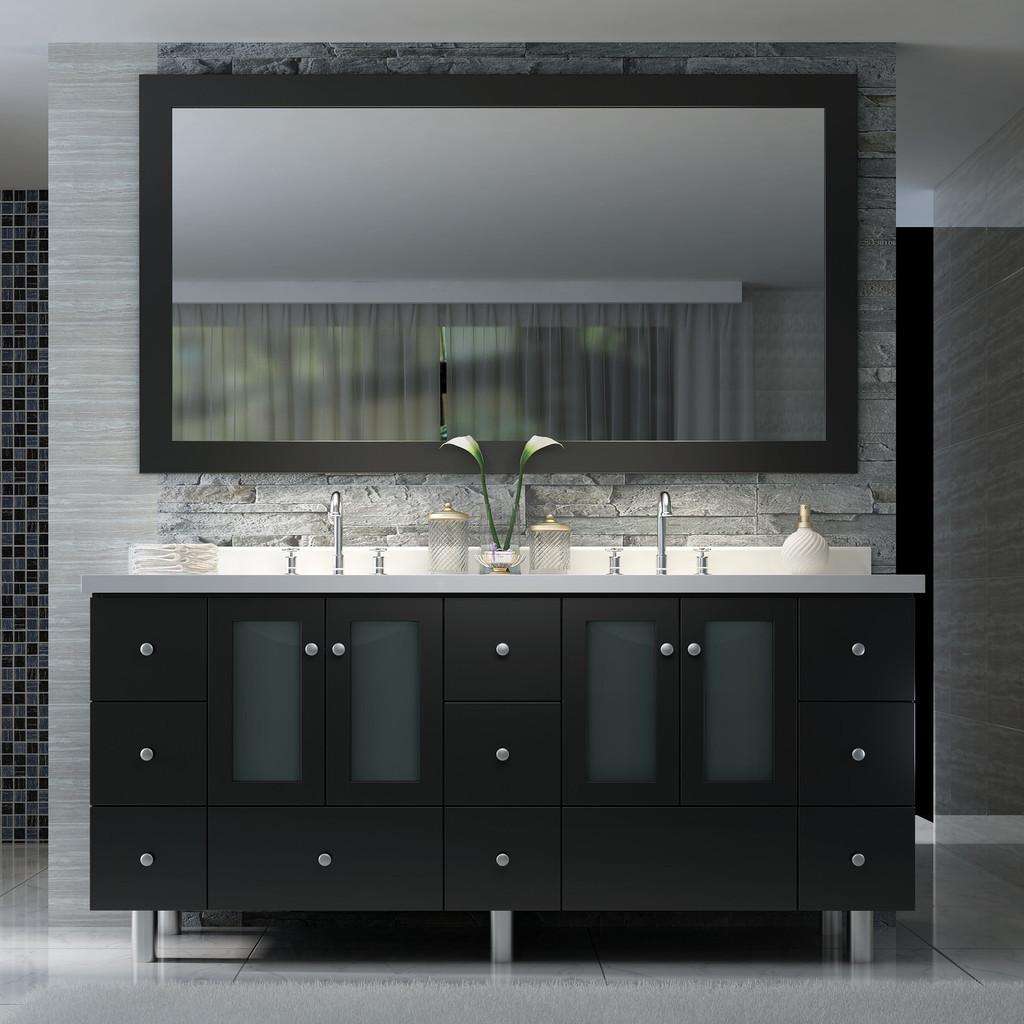 Ariel B073D-03 Americano 73 Inch Double Sink Vanity Set in Black
