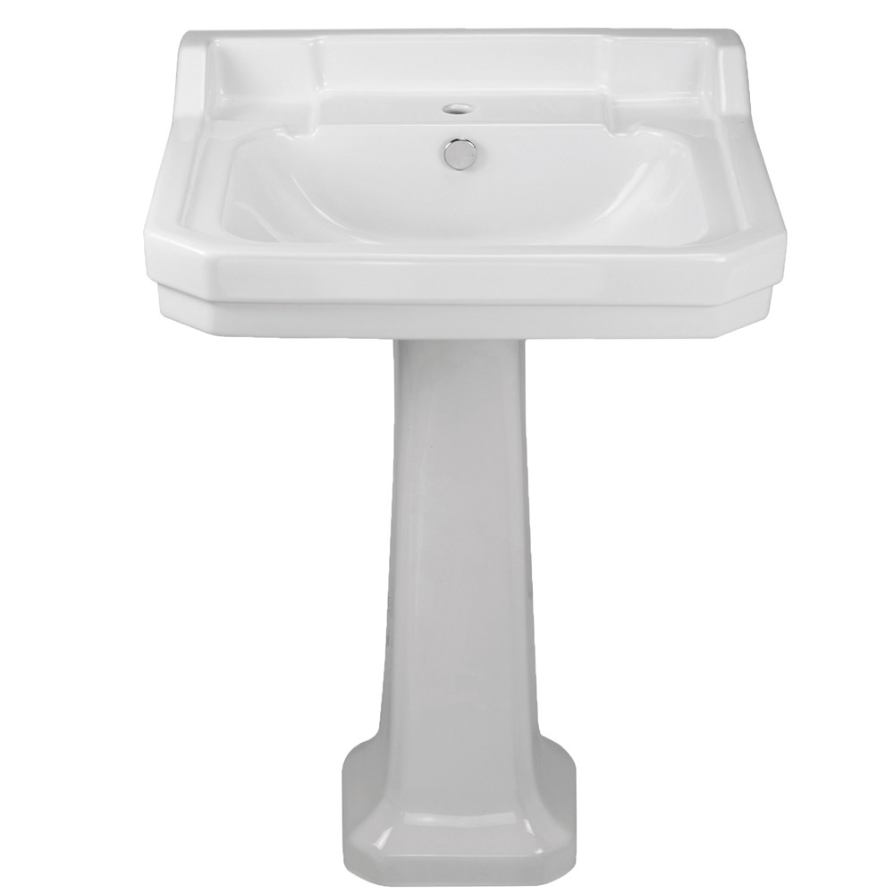 Whitehaus B112L-P Traditional Pedestal with Integrated Bowl and Rear Overflow
