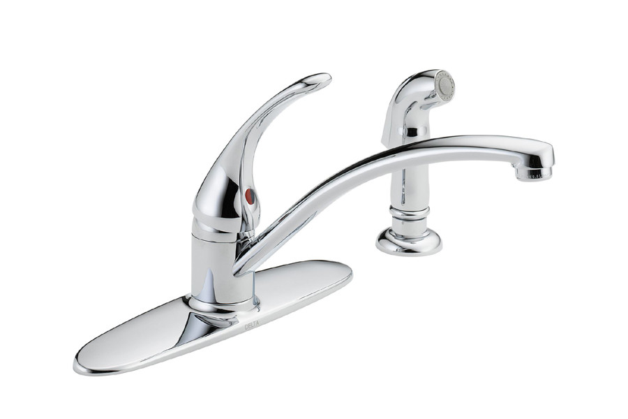 Delta B4410LF Foundations Core-B Single Handle Kitchen Faucet With Spray