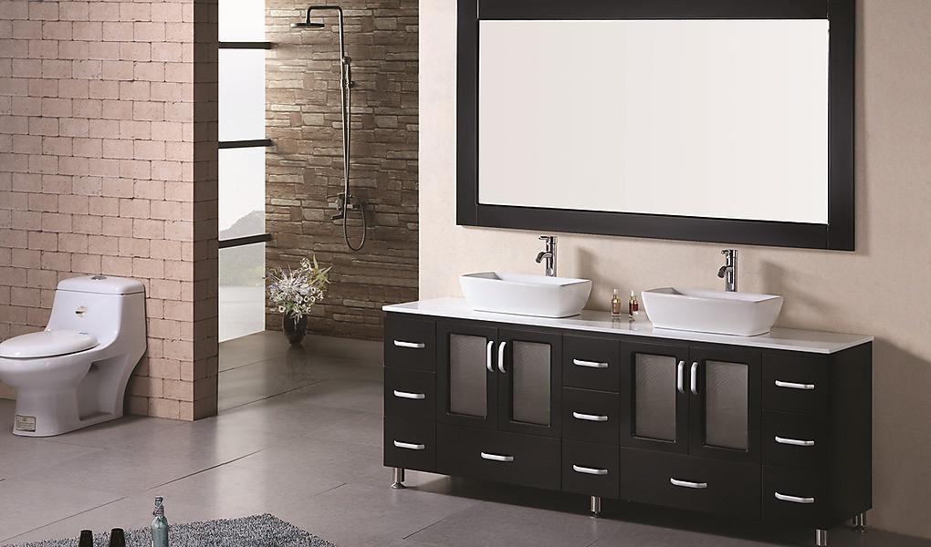 """Design Element B72-VS Stanton 72"""" Double Sink Vanity Set in Espresso"""
