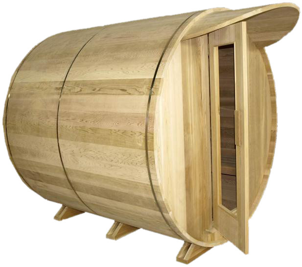 SaunaCore BRL6X6-WS Outdoor Barrel Shaped Sauna Room With Wood Burning Heater