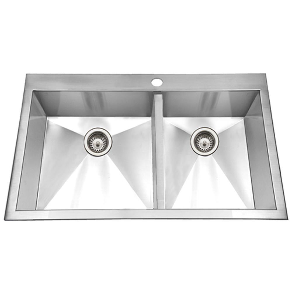 Houzer BCD-3322 Bellus Series Zero Radius Topmount Stainless Steel 1-Hole Double Bowl Kitchen Sink