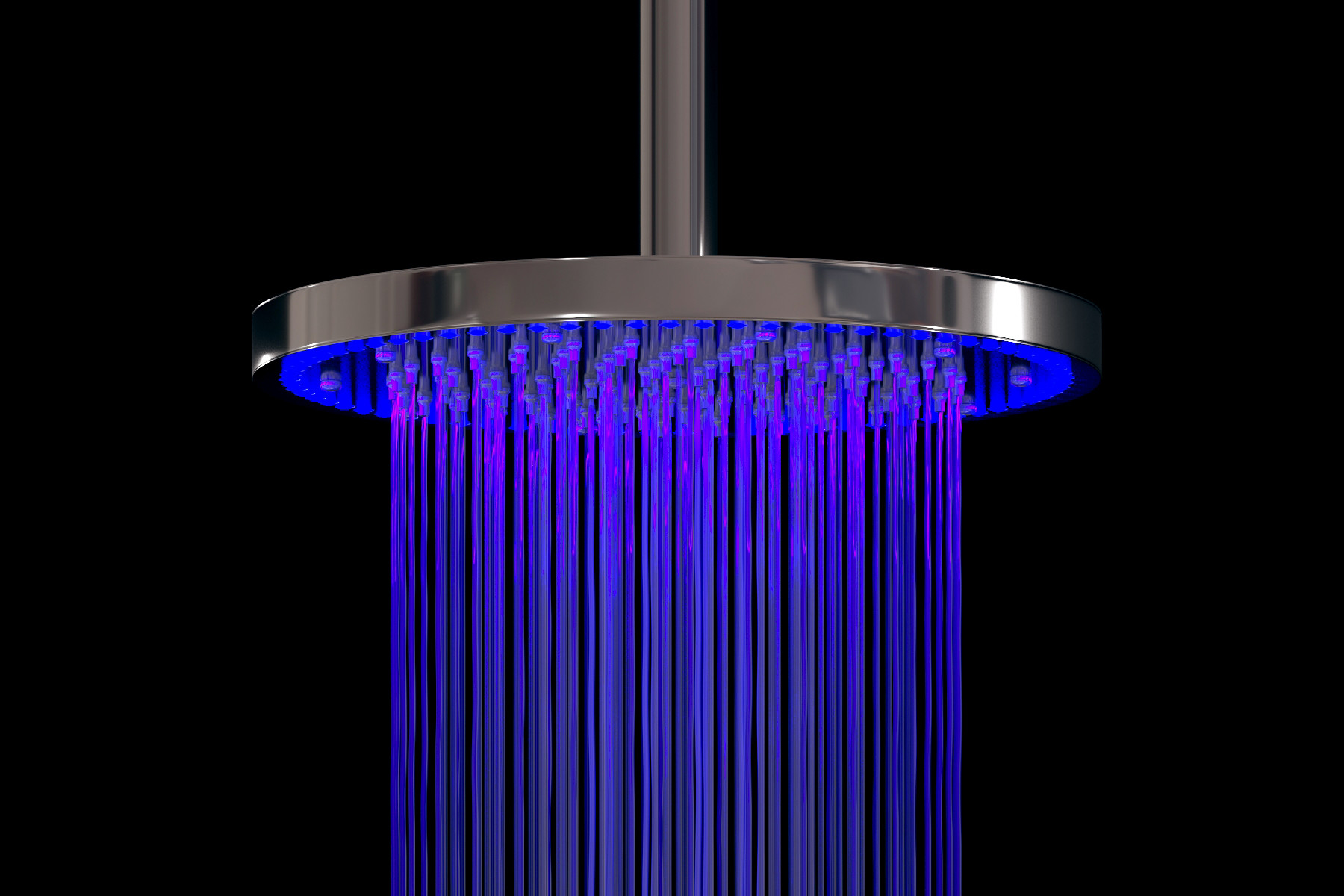 Aquatica BCRD-240 Sparkle Solid Brass Bathroom Shower Head With Lighting In Chrome