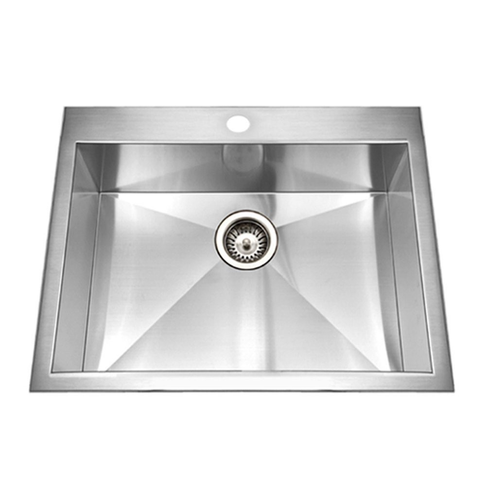 Houzer BCS-2522 Bellus Series Zero Radius Topmount Stainless Steel 1-Hole Single Bowl Kitchen Sink