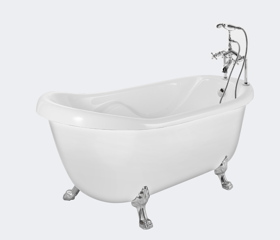 Aston Global BT686-II Acrylic Slipper Claw Foot Tub with Tub Mount Faucet