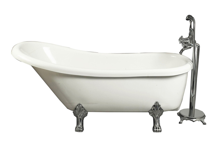 """Aston Global BT686 67"""" Acrylic Slipper Claw Foot Tub in White with Faucet"""