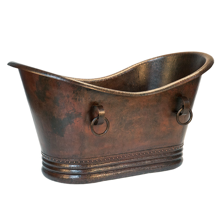 Premier Copper BTDR60DB 60 Inch Hammered Copper Double Slipper Bathtub With Rings