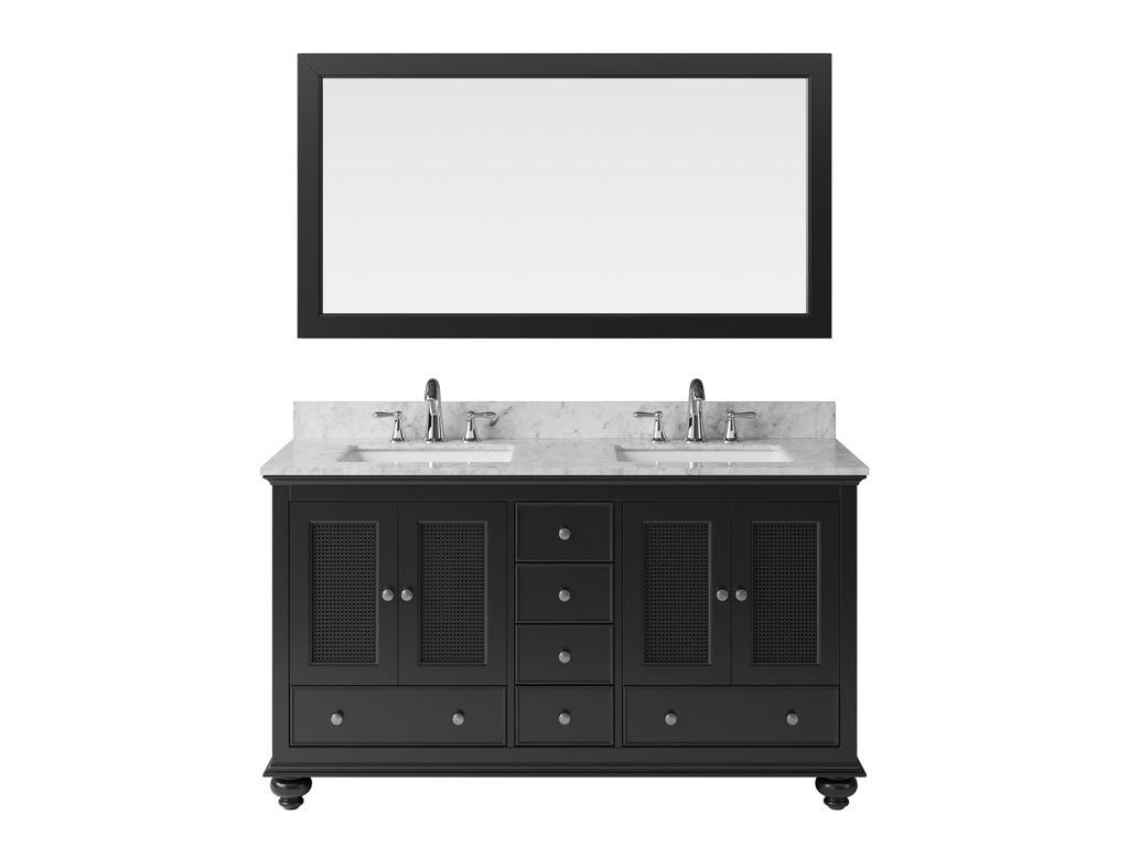"Exclusive Heritage BV-10036S-WMES 60"" Espresso Double Vanity Set w/ Mirror"