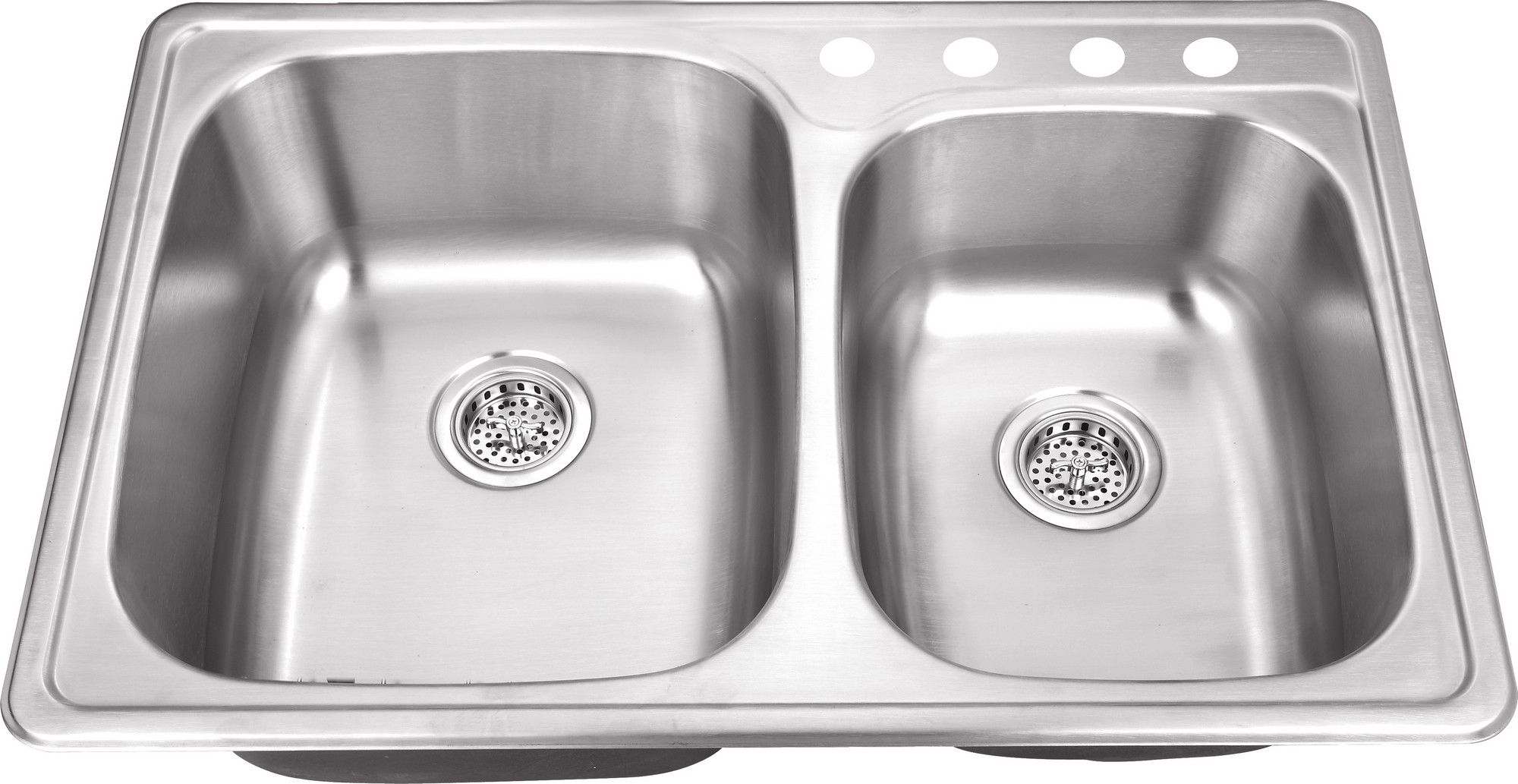 Cahaba CA113233 33-1/8 x 22 20 Gauge Stainless Steel Double Bowl Kitchen Sink