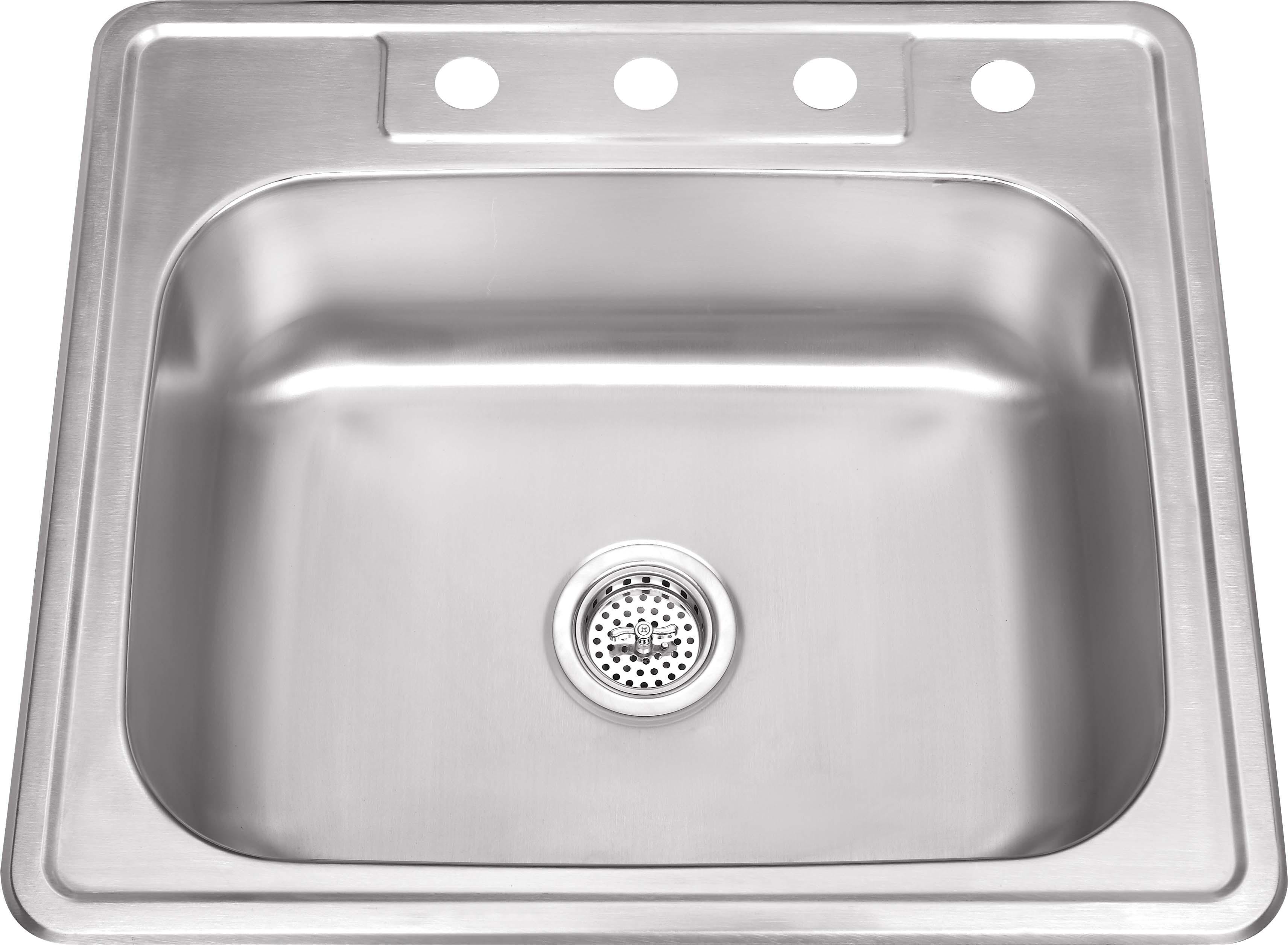 Cahaba CA113SB25 25 Inch 20 Gauge Drop In S. Steel Single Bowl Kitchen Sink