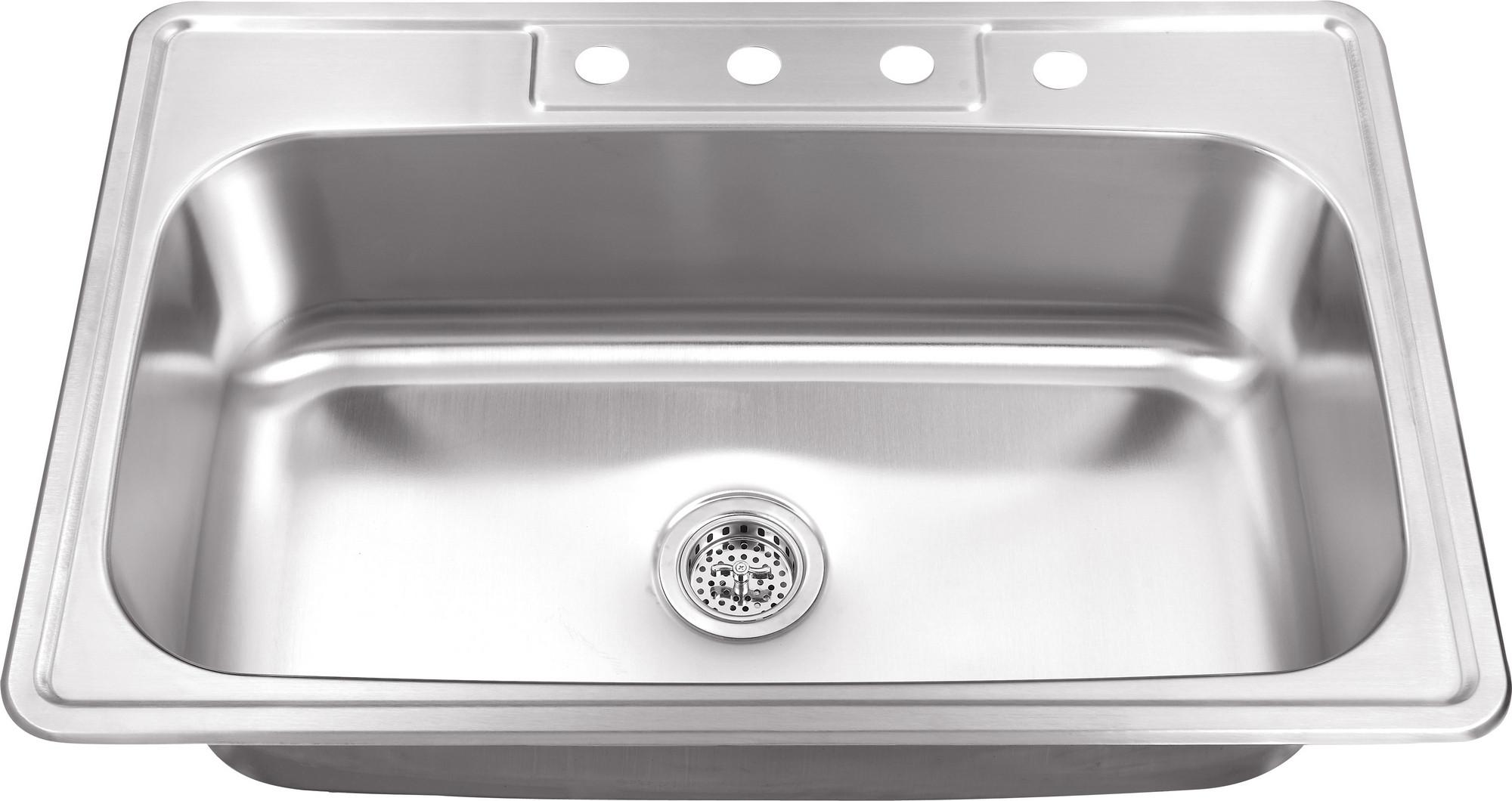 Cahaba CA113SB33 33 x 22 Inch 20 gauge S. Steel Single Bowl Kitchen Sink